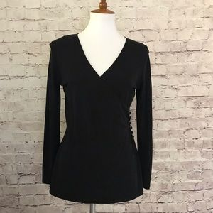 Talbots Long Sleeve Faux Wrap V-Neck Top in Black